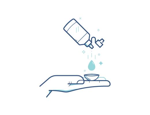 Dezynfekcja przy pomocy płynu do soczewek kontaktowych