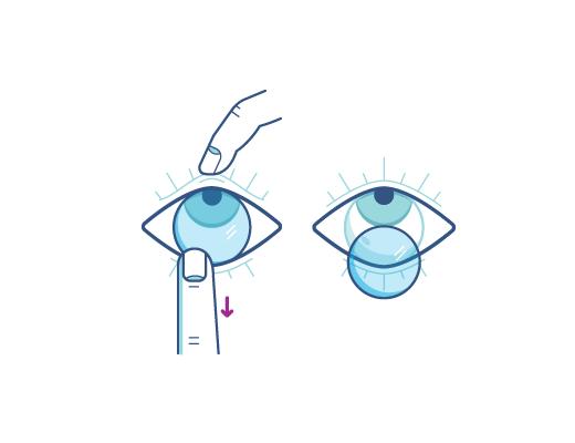 Przesuń soczewkę kontaktową palcem wskazującym do dolnej krawędzi oka