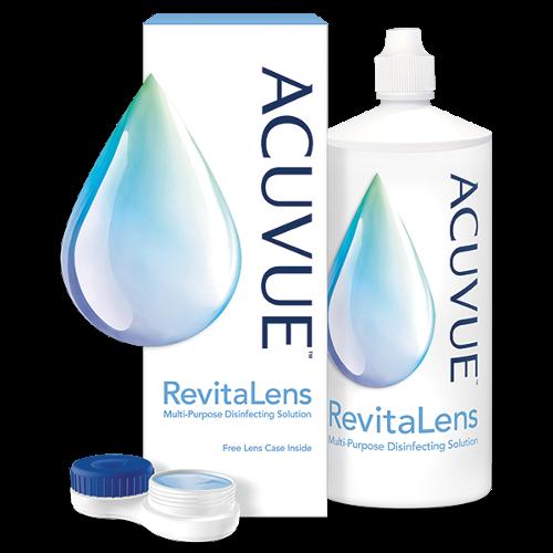 Opakowanie płynu do soczewek ACUVUE™ RevitaLens  – butelka i pojemniczek na soczewki kontaktowe