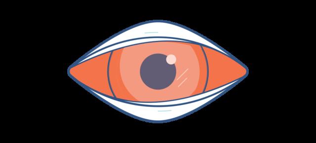 Grafika obolałego czerwonego oka