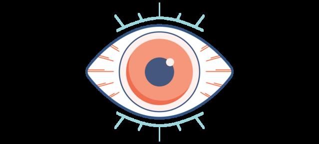 Grafika suchego, czerwonego i bolącego oka