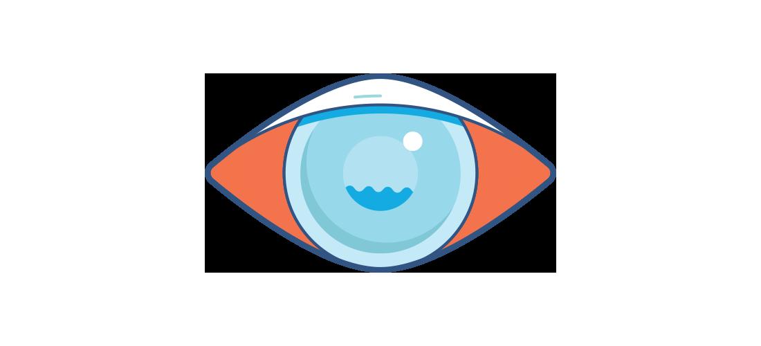 Grafika zamglonego i zaczerwienionego oka