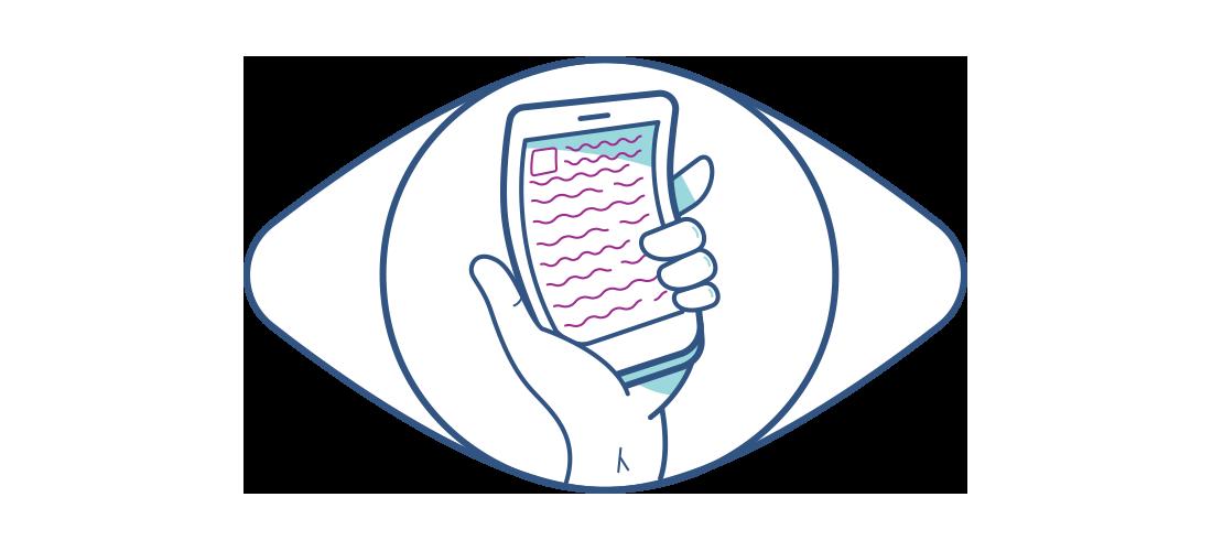 Skrzywiony smartfon w oddali widoczny z perspektywy oka